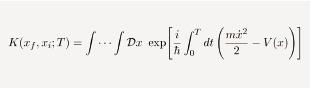 ミクロ粒子が時刻t=0に場所xiから出発して、t=Tで場所xfに到達するときの確率振幅を与える経路積分